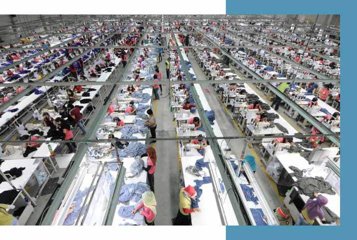 Workers in apparel factory